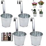esto24 4er Set Hängetopf Pflanztopf Übertopf mit Haken Silber Zink Blumentopf Vase Balkon Garten