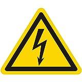 Warnzeichen W012 - Warnung gefährliche elektrische Spannung (Blitzpfeil) - Seitenlänge 50 mm - 100 Warnschilder aus Vinyl Folie, gelb, permanent haftend