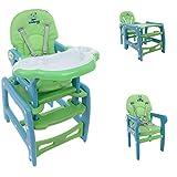 3 in 1 Multi Kinderhochstuhl Stuhl Kombihochstuhl Tisch Baby Hochstuhl Esstisch (Grün-blau)