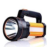ALFLASH LED Handscheinwerfer 9000 Lumens Outdoor Led Taschenlampe 5 Model Tragbar Laterne Extrem Hell USB Wiederaufladbare CREE Akku Handlampe Arbeitsleuchte Flashlight 1 Jahr Ersatzgarantie(Gold)
