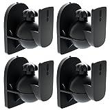 [SET 4 Stück] deleyCON Universal Lautsprecher Wandhalterung Halterung Boxen Halter Schwenkbar + Neigbar bis 3,5Kg Deckenmontage + Wandmontage - Schwarz