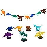 BESTOYARD Banner Dinosaurier Flagge Girlande mit Dinosaurier Tischaufsatz Kinder Geburtstag Party Zimmer Dekoration