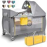 Lionelo Sven Plus 2in1 Reisebett Baby Laufstall Baby ab Geburt bis 15kg, Moskitonetz, Tragetasche, zusammenklappbar (Yellow Scandi)
