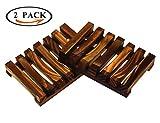 Funlifly Seifenschale Dusche/Bad(2 Stück) Holz Handarbeit Seifenhalter Halter Bad Waschbecken Deck Seifenhalterung natürliche Bambus Seifenkiste Seifen Box für Seife Scrubber Schwämme