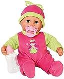 Bayer Design 9380600 - Funktionspuppe First Words Baby mit Fläschchen und Schnuller, 24 Babylaute, 38 cm, pink/grün