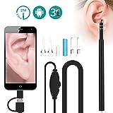 Mini-Otoskop, Otoskop, Otoskop, Otoskop, Otoskop, WiFi, USB Ohr, Inspektionskamera mit 6 LED-Lichtern, Ohrenschmalz Entfernungs-Werkzeug für iPhone und Android Smartphone, Mac und PC