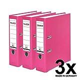 Falken PP-Color Kunststoff-Ordner 8 cm breit DIN A4 Pastell-Farbe pink 3er Pack Ringordner Aktenordner Briefordner Büroordner Plastikordner Schlitzordner