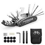 Woopus Fahrrad-Multitool, 16 in 1 Werkzeuge für Fahrrad Tragbare Werkzeuge Set Tasche mit Kette Werkzeug und Reifenpatch Hebel,Selbstklebendes Fahrradflicken usw