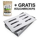 Räuchergarten Smokerbox - Edelstahlbox für Gas-, Kohle- und Elektrogrill - Räucherbox für feinste Raucharomen + E-Book mit Räucherrezepten + Probepackung Räucherchips