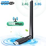 WLAN Stick, USB WiFi Adapter, WLAN Adapter USB 3.0 WiFi Dongle 1200Mbit/s Dualband(5.8G/867Mbps+2.4G/300Mbps) 5dBi Antenne mit Thermisches Design für Windows/Mac OS/Linux/Desktop/PC/Laptop/Notebook
