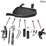 GIDup Fahrrad Reparatur Set - Fahrrad Werkzeug mit Reifen reparaturset - 16 in 1 Fahrrad Multitool - robuste Satteltasche fürs Fahrrad - Pannenset Flickzeug - Luftpumpe aus Aluminium - Mountainbike