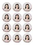 Tortenaufleger mit Wunschfoto und Wunschtext / Geburtstag / Tortenbild Tortenplatte mit eigenem Foto und Text / Größe individuell (6cmØ/12Stk.)