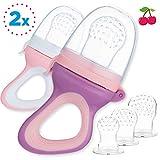 2 Fruchtsauger für Baby & Kleinkind + 6 Silikon-Sauger in 3 Größen - BPA-frei - Schnuller Beißring für Obst Gemüse Brei Beikost