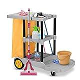 COSTWAY Reinigungswagen mit Ablagen, Putzwagen Hotel, Wischwagen Systemwagen Fahrwagen mit Abfallsack