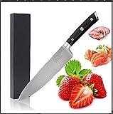 LEHONG Kochmesser Küchenmesser Chefmesser 20 cm Sehr Scharfe Allzweckmesser Klinge Rostfreier Stahl Köche Messer zum Schneiden,Ergonomischer Griff, schwarz