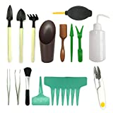 Mini Gartengeräte Garten Werkzeug Set, PietyPet 21 Stück Sukkulenten Werkzeuge Miniatur Gartenarbeit Werkzeug