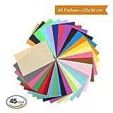 ZADAWERK Filz - 1 mm - 20 x 30 cm (Bunt, 45 Stück) Bastelfilz Filzstoff Filzplatten