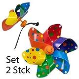 Fahrradwindmühle - Moulin VELO 12cm - Rainbow Dots - 2er Set - Windrad Ø12cm - Windspiel für alle Fahrräder, Roller, Dreiräder, Laufräder, Kinderwagen und Buggys