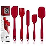 K-Brands Teigschaber Silikon - Hitzebeständige und Antihaft-Spatel mit Edelstahlkern zum Kochen, Backen und Mischen (5-teilig) - Rot