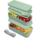 Guenx Bento-Box/Lunchbox, Innovative Food Aufbewahrungsbox, Lunchbox Kinder mit Fächern ohne Plastik – Gefertigt aus Weizen, Biologisch abbaubar, plastikfrei, BPA frei, Auslaufsicher