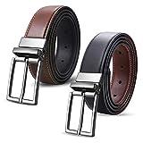 ghj Gürtel Herren Gürtel Leder Gürtel für Herren aus echtem Leder Zwei Verwendungsmöglichkeiten von einer Schnalle Schwarz und Braun (Size 100)