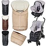 2in1 Winterfußsack (0 bis 36 Monate) für Babyschale / Kinderwagenschale / Kinderwagen / Buggy (Schwarz / Schwarz)