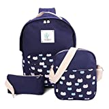 Canvas Schulrucksack, Gracosy 3 Teile Set Damen Rucksack + Umhängetasche/Schul Schulranzen + Mäppchen/Purse für Jugendliche Mädchen Schule Dunkelblau