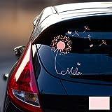 ilka parey wandtattoo-welt Autotattoo Heckscheibenaufkleber Fahrzeug Aufkleber Sticker Baby Name Pusteblume M1864 - ausgewählte Farbe: *Hellrosa* ausgewählte Größe: *M - 28cm breit x 25cm hoch*