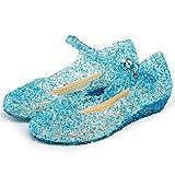 Katara ES10 - Frozen Eiskönigin Prinzessin Elsa, Cinderella Schuhe Kinder Kostüm, Prinzessinenkleid, EU Gr. 27, Blau