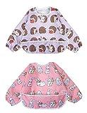 Ärmel-Lätzchen lang Baby Kleinkind Lätzchen Wasserdicht Kurzarm Lätzchen Fütterung Lätzchen Schürze mit eingebauten Tasche für Babys/Kleinkinder/Kleinkinder (Kleines Kaninchen/kleiner Igel)