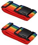 [2 PACK] Koffergurt Farbig - Verstellbare Kofferband - Gepäckgurt 5*200 cm - Zum sicheren Versließen der Koffers auf Reisen - Inklusive 3 Jahren Geld-zurück-Garantie (Rainbow)