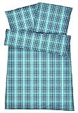 Kühle Mako Perkal Sommer Bettwäsche 135 x 200 cm Grün Anthrazit aus 100 % Baumwolle für besten Schlafkomfort bei warmen Temperaturen - 2-teiliges kariertes Bettwäsche Set mit Kopfkissen-Bezug