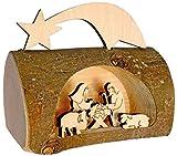 Kaltner Präsente Geschenkidee - Weihnachtskrippe Krippe aus Holz mit Jesus, Maria und Kind in einem Baumstamm mit Rinde