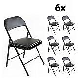 6er Set Stabile Klappstühle Faltstühle Stuhl Metall in schwarz PVC in schwarz, 6 Stühle