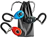 Wilk Clicker für Hunde, mit Handgelenkschlaufe, 3 Farben und 1 Tasche für Hundeleckerlis