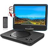 WONNIE 9.5' Tragbarer DVD-Player drehbares HD Display 4 Stunden Akku, Unterstützt USB/SD Slot, AV Out/IN, mit 1.5M Auto-Ladegerät und Stromadapter (Blau)