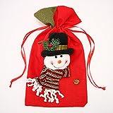 Jeteven 37x20cm Weihnachtssack Weihnachtsgeschenk Weihnachtsmann Sack Nikolaussack Geschenkbeutel für Kinder, Schneemann