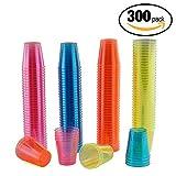300er Pack Neon Party Plastik Schnapsgläser und bunte Einweg-Becher – 30ml Schnapsbecher, Plastikbecher & Pinnchen aus Kunststoff – ideale Shotgläser für Shots