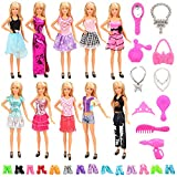 Miunana 30 Item = 10 Kleider + 10 Paar Schuhe + 10 Zubehör, Röcke Puppenzubehör Outfit Kleidung für Barbie Puppen