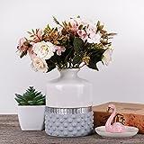 Hannah's cottage Weiß Vasen Keramik Vase Kleine Vase Blumenvase Moderne deko Tischvase Blumen Vase Keramikvase Deko Keramikvasenset Höhe 15,5cm Ø 11cm (Weiß & Silbern)