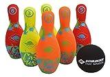 Schildkröt Funsports Schildkröt Neopren Bowling, 6 (21, 5cm), 1 Ball (Ø9cm), Im Kartonträger mit Meshbag, Kinderkegeln, 970227 Kegel Set, Mehrfarbig, .