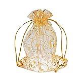 AONER 100 stück Organzasäckchen 10x12 cm Organzabeutel Geschenkbeutel Hochzeit klein Schmuckbeutel Organza (Gold)