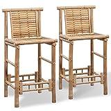 vidaXL 2x Bambus Barhocker Bambushocker Thekenhocker Barstuhl Bambusmöbel Garten