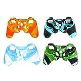 Silikon Schutz Skin Schutzhülle für Sony Playstation PS3Fernbedienung Controller-4Pack Silikon Schutzhülle Game Controller Hülle Blackred Mix