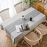 SOLEDI Spleiß Quaste Tischdecke, Tischdecke aus Baumwolle und Leinen, Dekorative Staubdichte Tischdecke, Mehrweg, Geeignet für Esstisch, Couchtisch, Quadratischer Tisch und Runder Tisch(140 * 180cm)