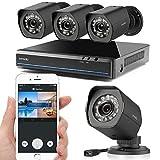 Zmodo CCTV 4 Kanal 1080P HDMI NVR Überwachungssystem mit 4 * 720P HD sPoE IP Überwachungskamera Set für Aussen/Innen, Wetterfest, Schwarz