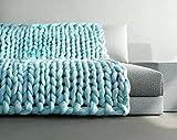 EARS Hand Chunky Gestrickt Warme Decke Dickes Garn Merinowolle Bulky Strickdecke 80x100cm (Blau)