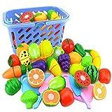 Giplar 23 Stück Lebensmittel Spielset Obst Schneiden Kinder Küchenspielzeug Plastik Kochen Spielzeug für Kinder