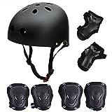SymbolLife Skateboard / Skate Protektoren Set mit Helmet -- Skate Helmet Knie Pads Elbow Pads mit Handgelenkschoner für Skate, Skateboard, Roller Skate, BMX, Bike und anderen Extreme Sports, M Schwarz