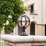 Sockelleuchte Außen-Lampe Vintage E27 Kugel Laterne Schwarz Aluminium und Glas Schatten Wegelampe Wasserdichte IP44 Außenleuchte Pollerleuchte für Terrasse Garden Villa Tür,φ17.5 * 32CM